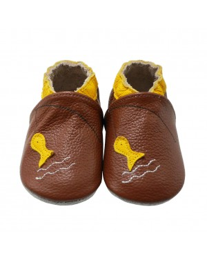 Yalion® genuine leather Baby Shoes Soft Soles Yellow Fish Brown