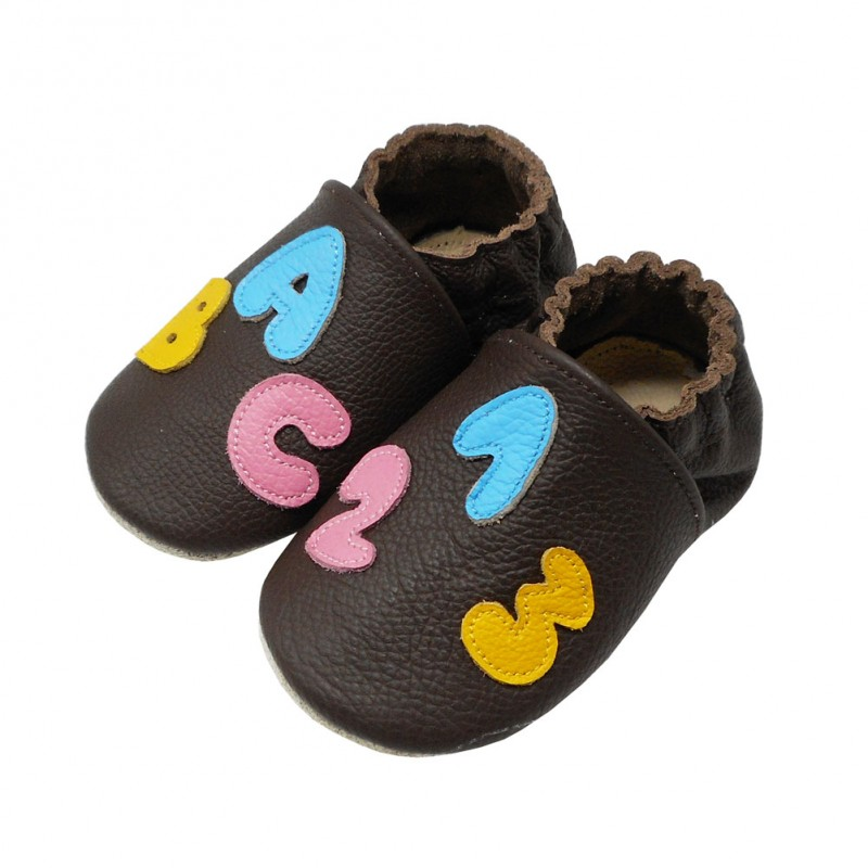 Yalion® Baby genuine leather Shoes Soft Soles Candies Brown