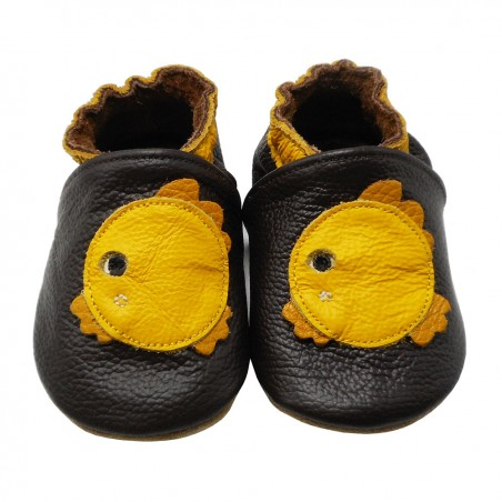 Yalion® Baby genuine leather Shoes Soft Soles Fish Brown
