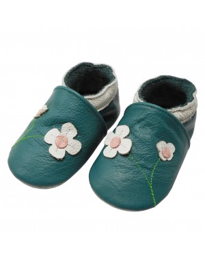 Yalion® Baby genuine leather Shoes Soft Soles Flowers Turquoise