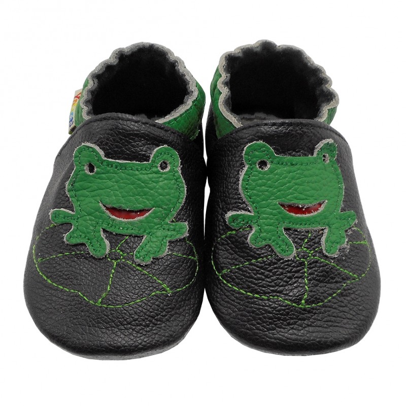 Yalion® genuine leather Baby Shoes Soft Soles Frog Black
