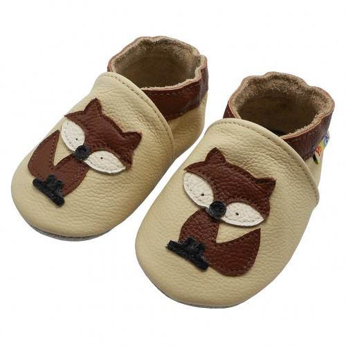 Yalion® genuine leather Baby Shoes Soft Sole Leather Fuchs Beige