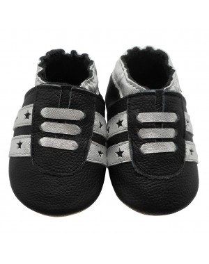 Yalion® genuine leather Baby Shoes Soft Soles Black Sneaker