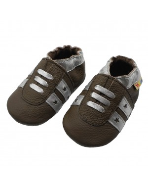 Yalion® genuine leather Baby Shoes Soft Soles Leather Sneaker Dark Brown