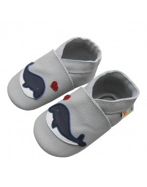 Yalion® Baby genuine leather Shoes Soft Soles Blue Whale