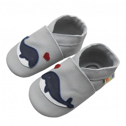 Yalion® Baby Krabbelschuhe Lederpuschen Lauflernschuhe Blau Wal