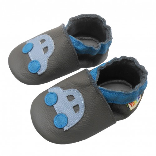 Yalion® genuine leather Baby Shoes Soft Soles Leather Sneaker blue car