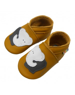 Yalion® Baby genuine leather Shoes Soft Soles white elephant