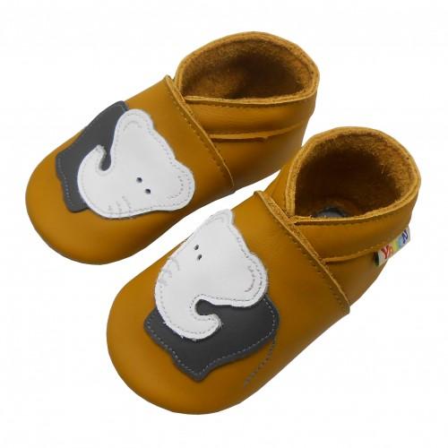 Yalion® Baby Krabbelschuhe Lederpuschen Lauflernschuhe weißer Elephant