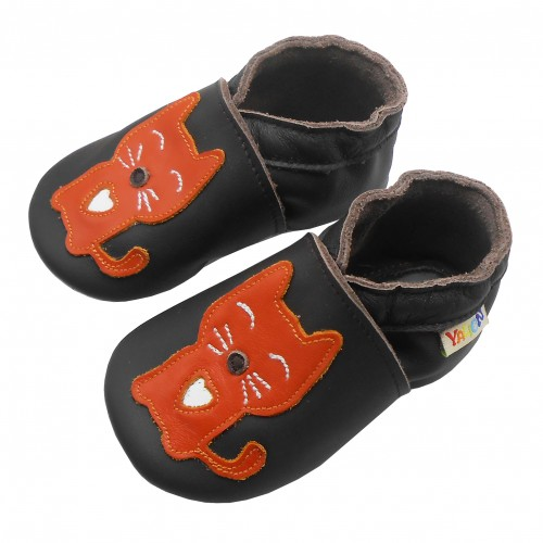Yalion® Baby genuine leather Shoes Soft Soles Red Cat