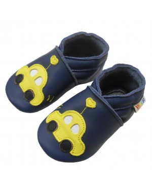 Yalion® Baby genuine leather Shoes Soft Soles Yellow Car