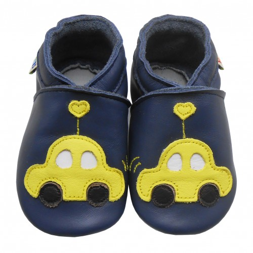 Yalion® Baby Krabbelschuhe Lederpuschen Lauflernschuhe Gelbes Auto