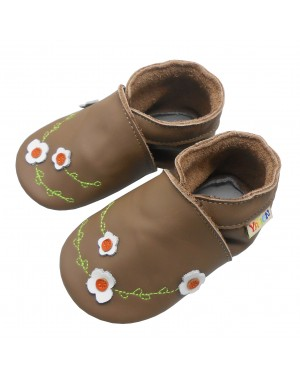 Yalion® Baby genuine leather Shoes Soft Soles white Flowers