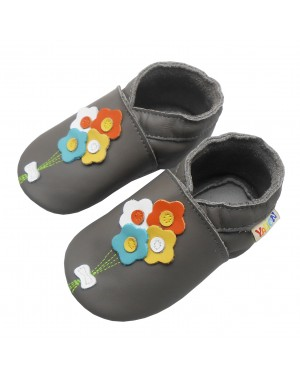 Yalion® Baby genuine leather Shoes Soft Soles Four Flowers