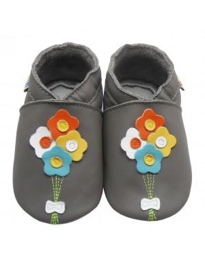 Yalion® Baby Krabbelschuhe Lederpuschen Lauflernschuhe Vier Blumen