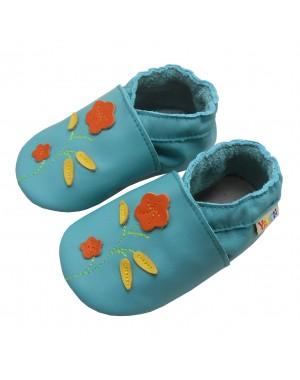 Yalion® Baby Krabbelschuhe Lederpuschen Lauflernschuhe Rote Blumen