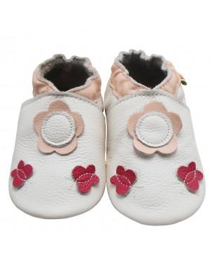 Yalion® Baby Krabbelschuhe Lederpuschen Lauflernschuhe Turnschuhe Weiße Blumen