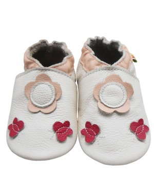 Yalion® genuine leather Baby Shoes Soft Soles Leather Sneaker White Flowers