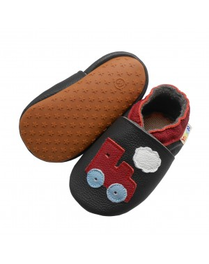 Yalion® genuine leather Baby Shoes Soft Soles Leather Sneaker Red Train