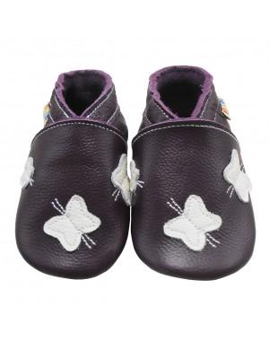 Yalion® Baby Krabbelschuhe Lederpuschen Lauflernschuhe Turnschuhe Weiße Schmetterlinge