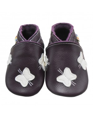 Yalion® genuine leather Baby Shoes Soft Soles Leather Sneaker White Butterflies