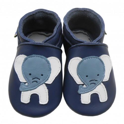Yalion® Baby Krabbelschuhe Lederpuschen Lauflernschuhe Blauer Elephant