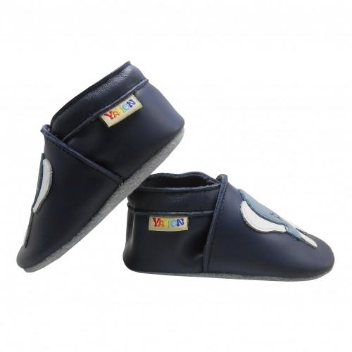 Yalion® Baby genuine leather Shoes Soft Soles Blue Elephant