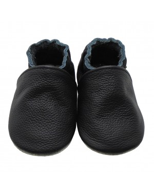 Yalion® genuine leather Baby Shoes Pure Black