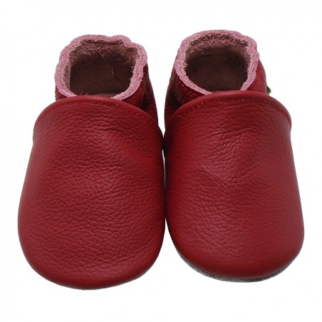 Yalion® genuine leather Baby Shoes Pure Red
