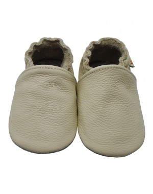 Yalion® genuine leather Baby Shoes Soft Soles Pure Beige