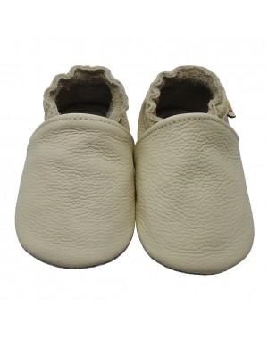 Yalion® Baby Krabbelschuhe Lederpuschen Lauflernschuhe Kinderhausschuhe Beige Einfarbig