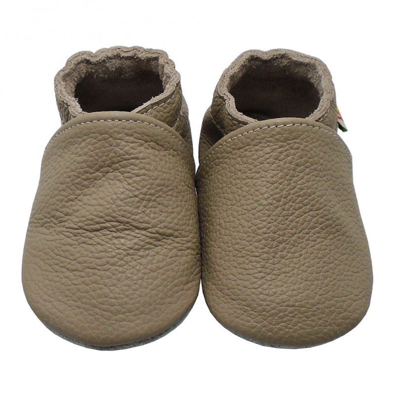 Yalion® genuine leather Baby Shoes Soft Soles Pure Taupe