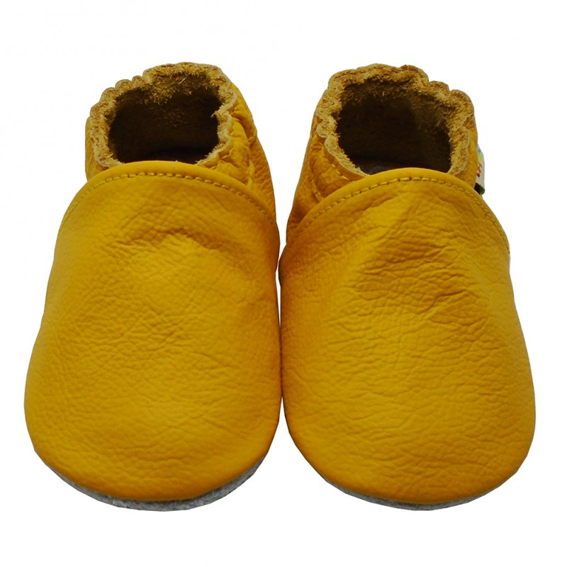 Yalion® genuine leather Baby Shoes Soft Soles Pure Yellow