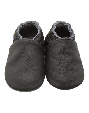 Yalion® genuine leather Baby Shoes Soft Soles Pure Dark Grey