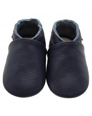 Yalion® Baby Krabbelschuhe Lederpuschen Lauflernschuhe Kinderhausschuhe Dunkelblau Einfarbig