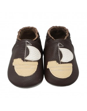 Yalion® Baby Shoes Soft Soles Sailing Boat Brown