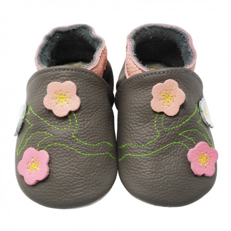 Yalion® Baby genuine leather Shoes Soft Soles Flowers Light Grey