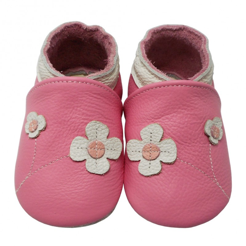 Yalion® Baby genuine leather Shoes Soft Soles Flowers Pink