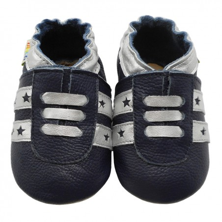 Yalion® genuine leather Baby Shoes Soft Soles Leather Sneaker Dark Blue