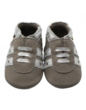 Yalion® genuine leather Baby Shoes Soft Soles Leather Sneaker Brown