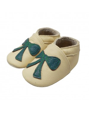 Yalion® Baby genuine leather Shoes Soft Soles Green Tie