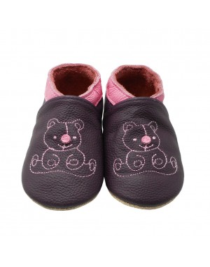 Yalion® Baby Shoes Soft Soles Bear Purple