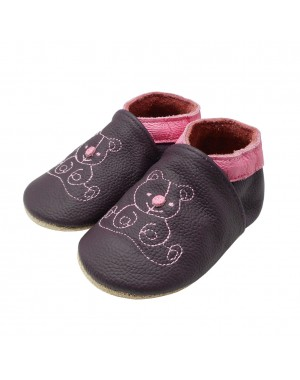Yalion® genuine leather Baby Shoes Soft Soles Bear Purple
