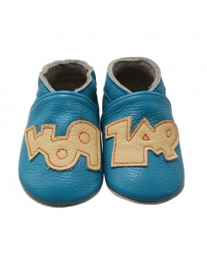 Yalion® genuine leather Baby Shoes Soft Soles Graffiti Blue