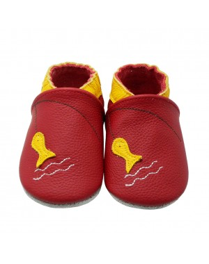 Yalion® genuine leather Baby Shoes Soft Soles Fish Red