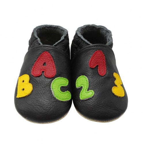 Yalion® genuine leather Baby Shoes Soft Soles ABC Black