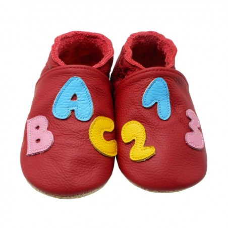 Yalion® Baby genuine leather Shoes Soft Soles ABC Red