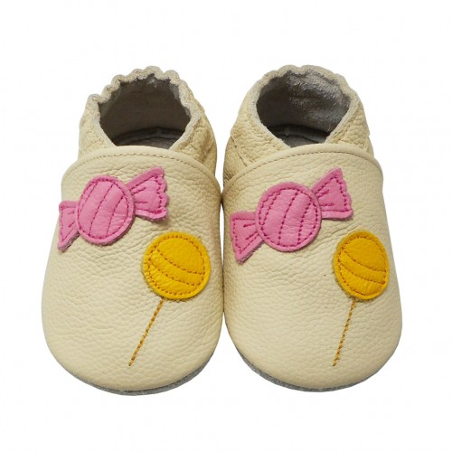 Yalion® genuine leather Baby Shoes Soft Soles Candies Beige