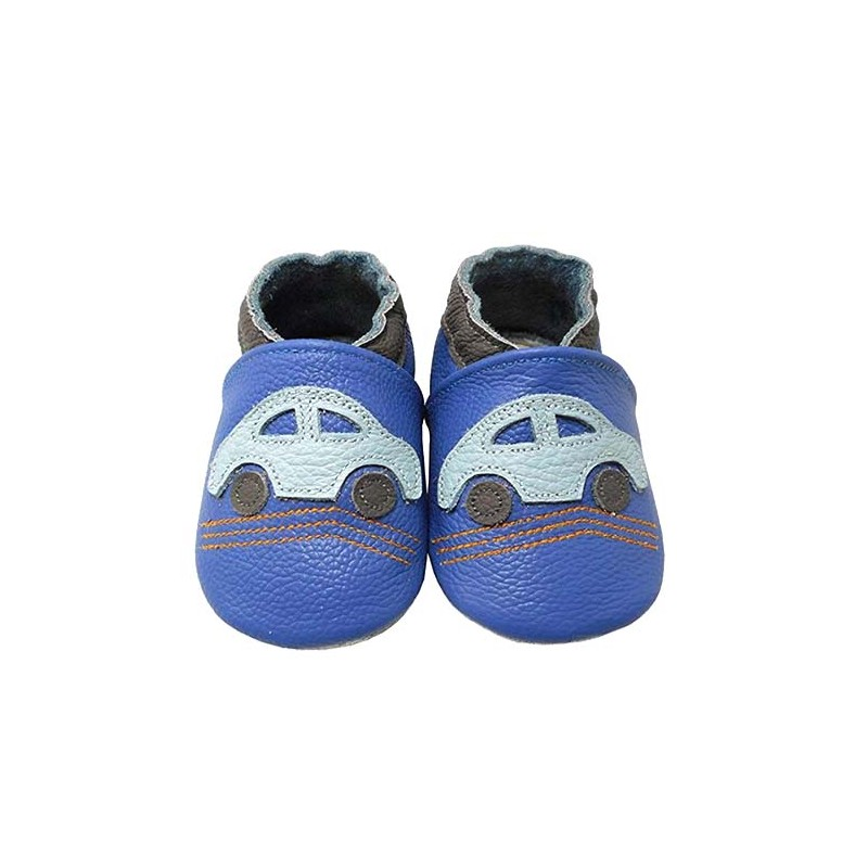 Yalion® genuine leather Baby Shoes Soft Soles Blue Cars