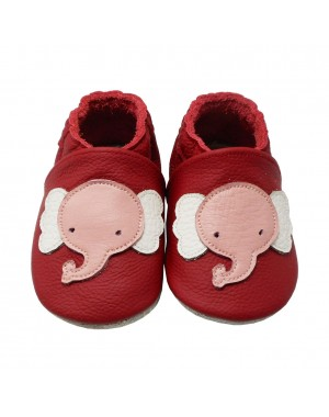 Yalion® genuine leather Baby Shoes Soft Soles Elephant Red